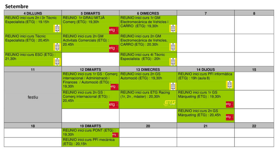 DATES DE REUNIONS