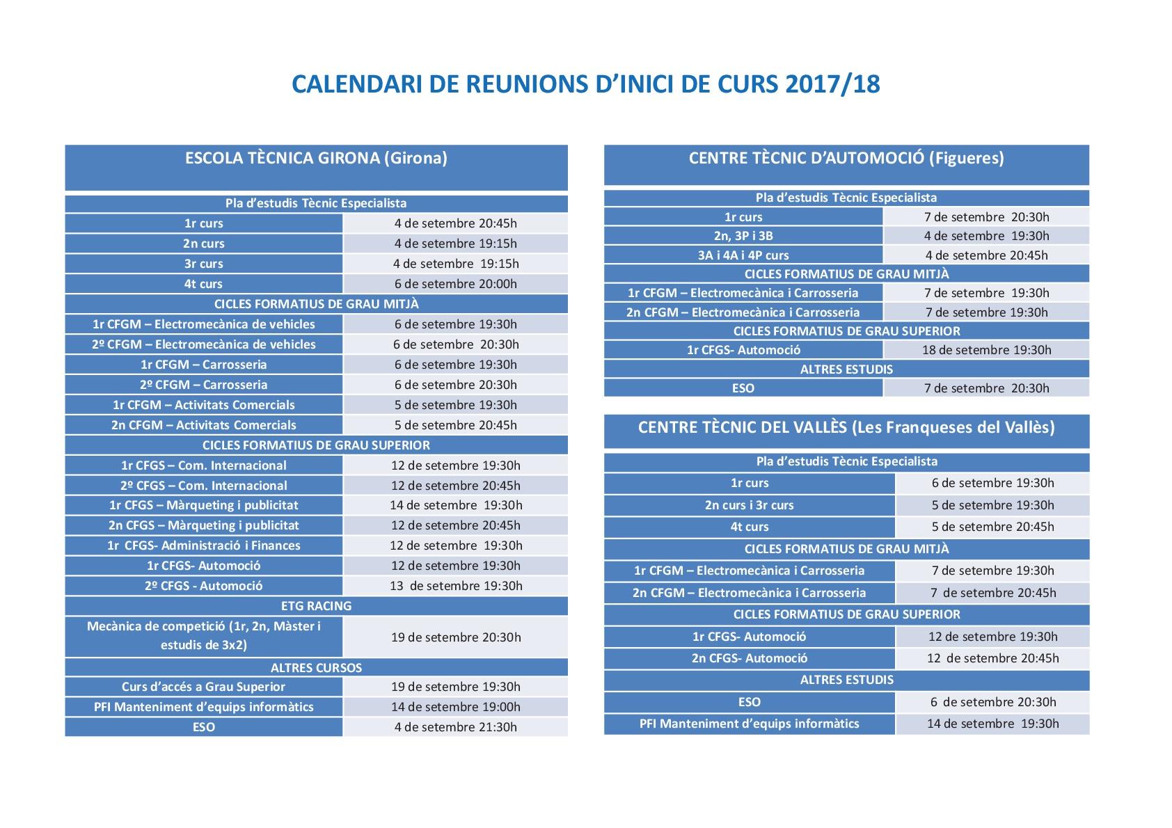 REUNIONS CURS 2017-2018