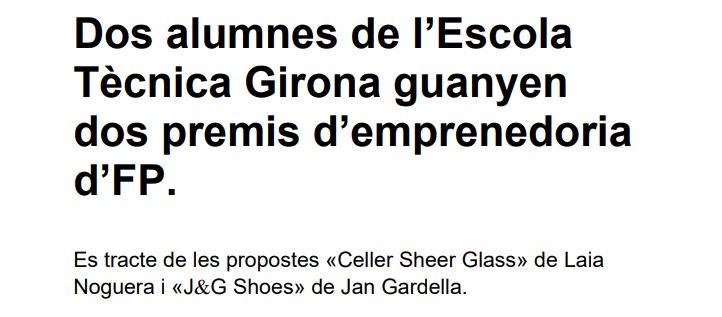 Dos alumnes de l'Escola Tècnica Girona guanyen dos premis d'emprenedoria d'FP.