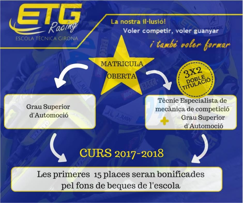 Ja tenim les places obertes per a les matricules del curs 2017-2018