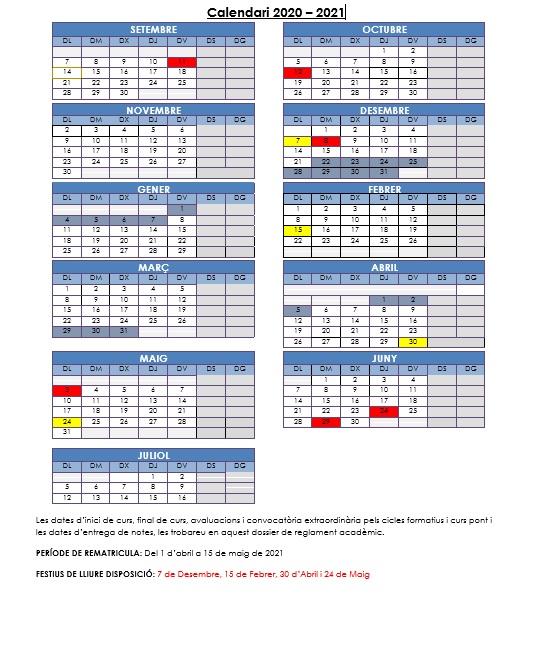 Calendari i Normativa CTA 2021