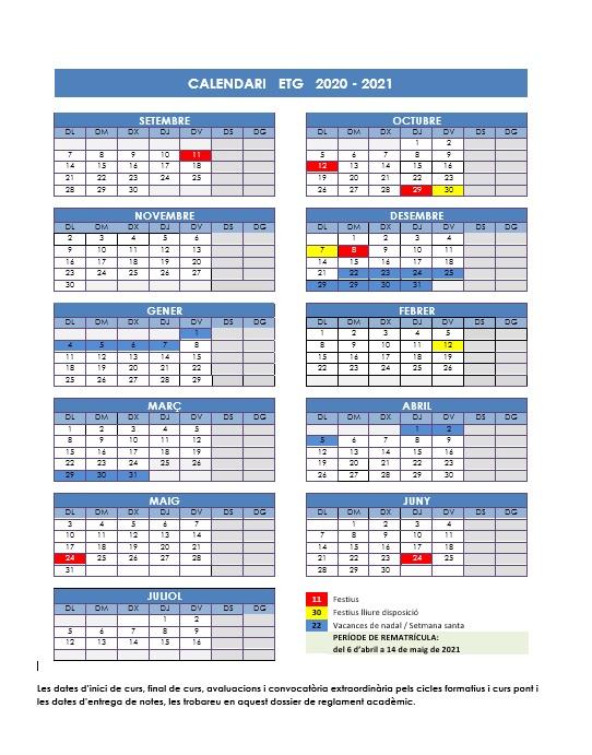 Calendario ETG 2021
