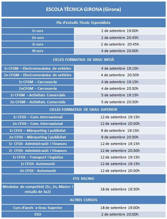 Calendari de reunions d'inici del curs 2019-20