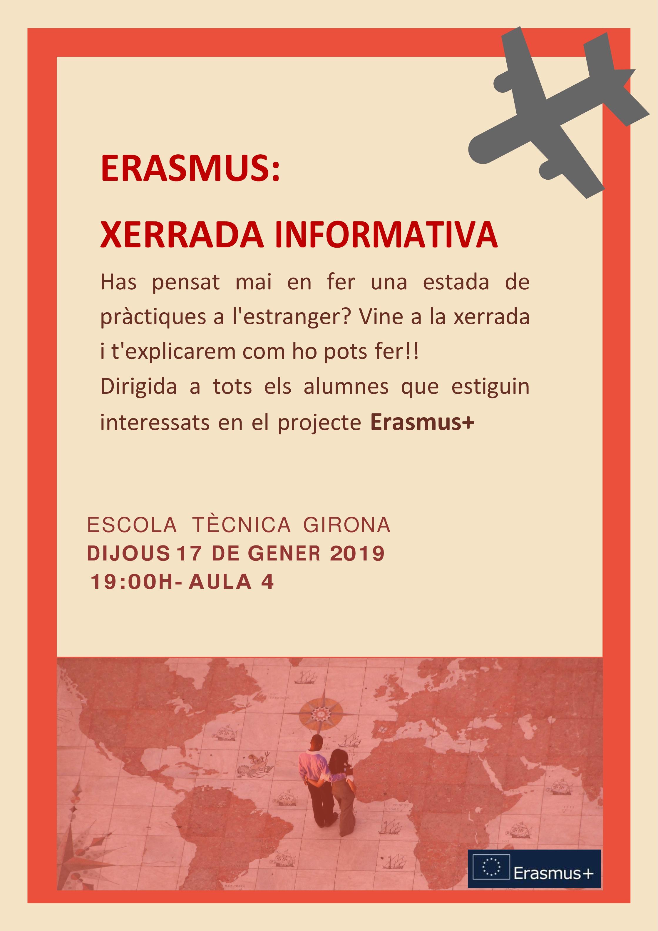 El dijous xerrada informativa sobre el projecte Erasmus+