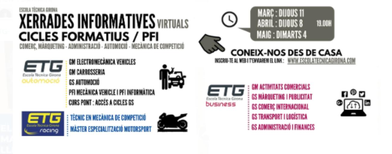 Noves xerrades informatives virtuals a l'ETG ETG BUSINESS, ETG AUTOMOCIÓ i ETG RACING