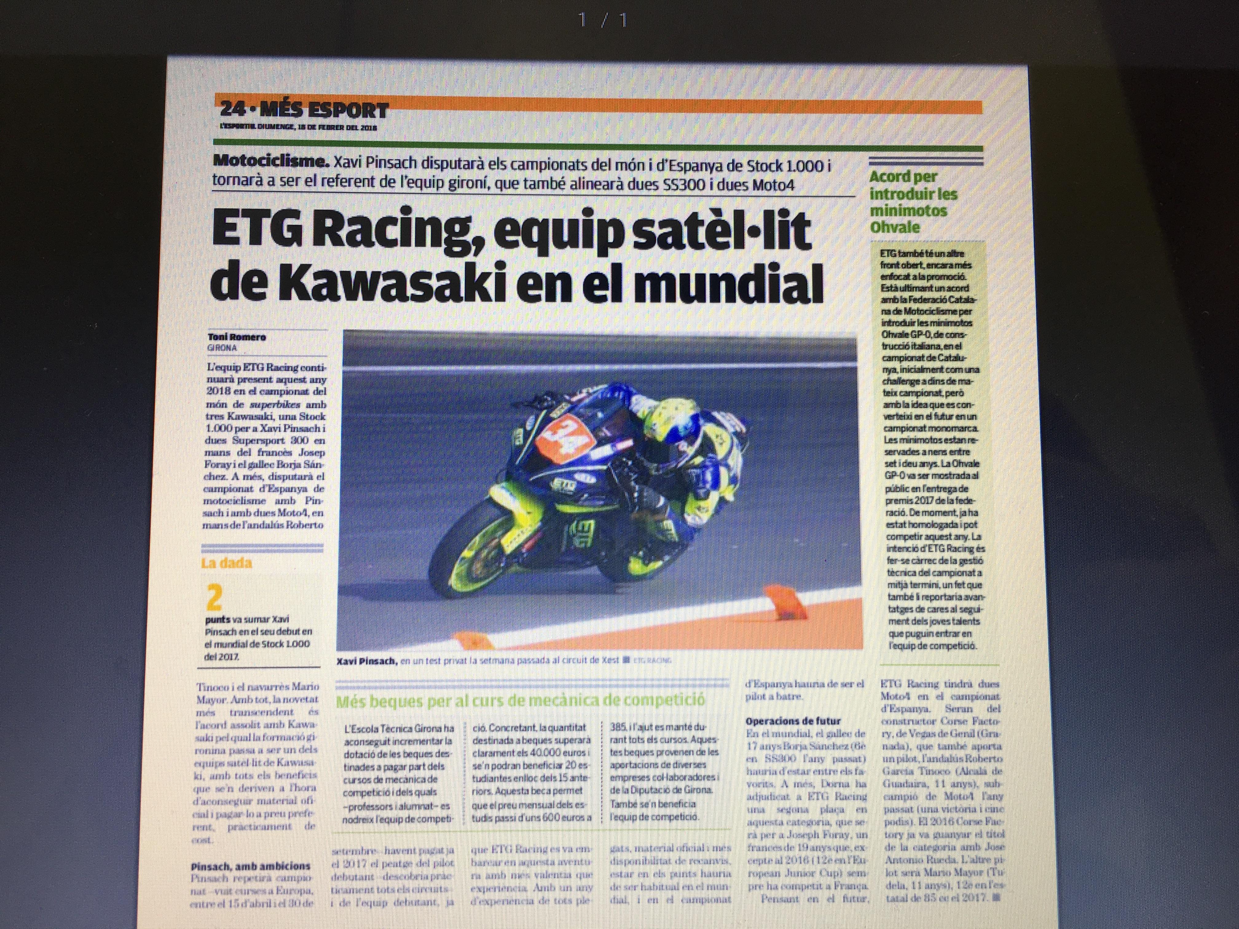 Els pilots d'ETG Racing, protagonistes en el diari l'Esportiu