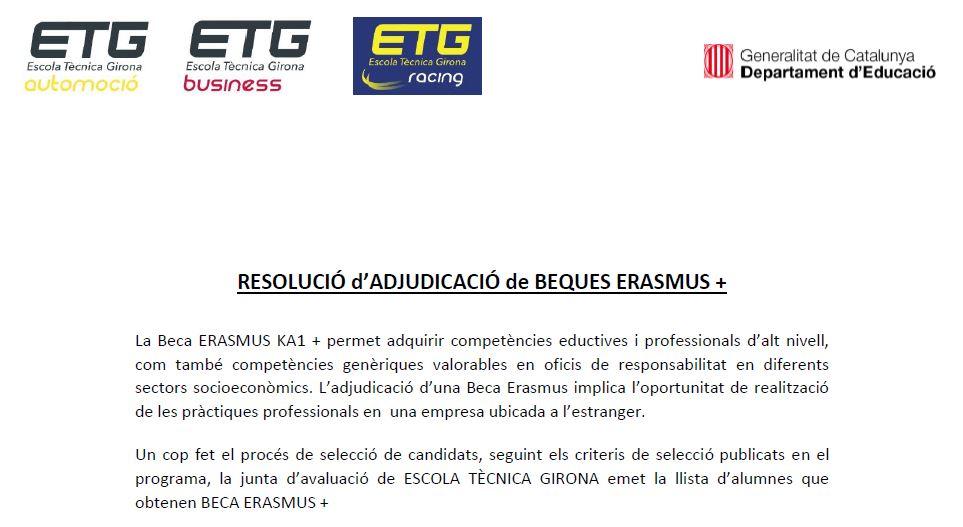 Resolució assignació beques ERASMUS +