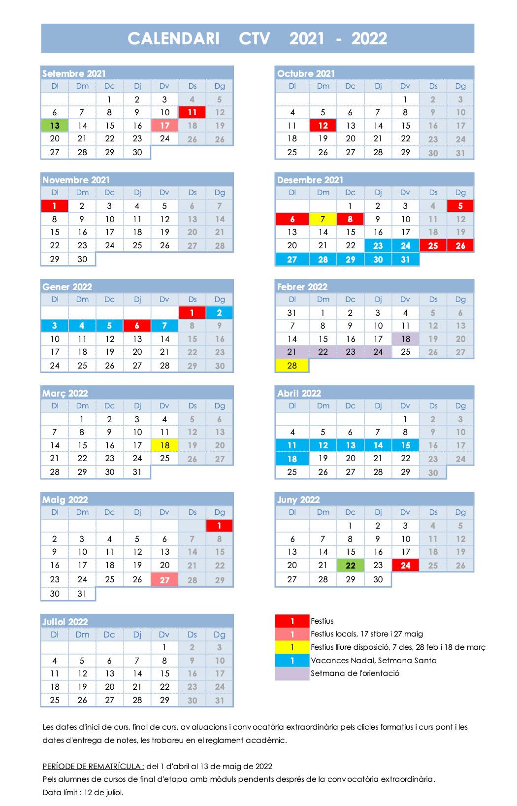 CALENDARI ESCOLAR CTV CURS 2021-2022