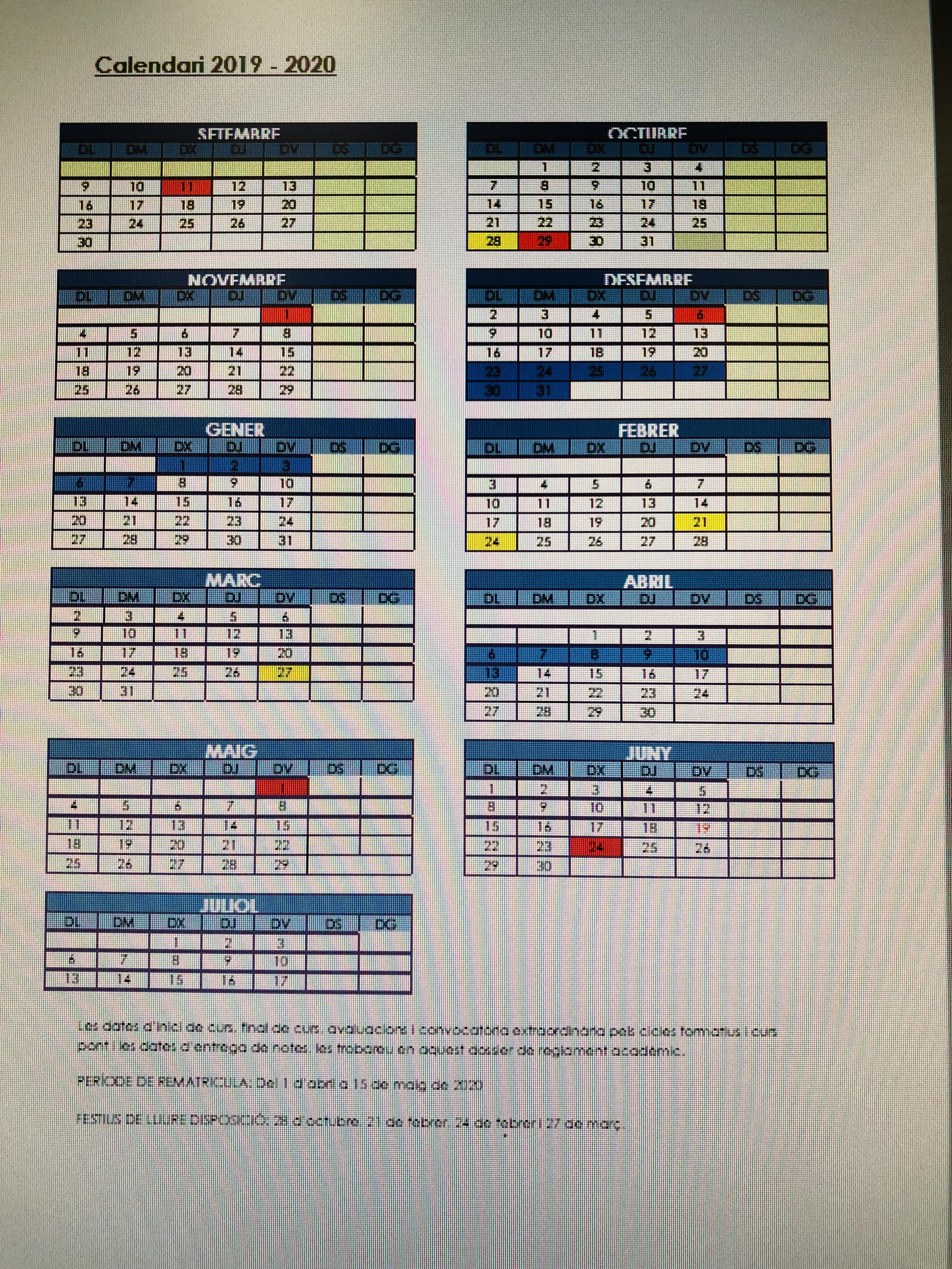 Aquí teniu el calendari escolar i el reglament intern del curs 2019/20