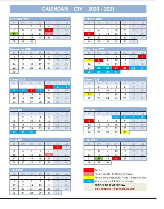 Calendario y normativa CTV 2021