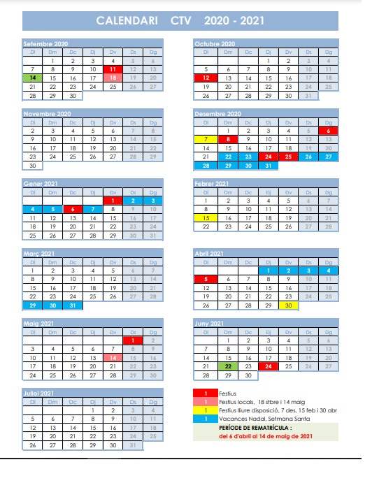 Calendari i normativa CTV 2021