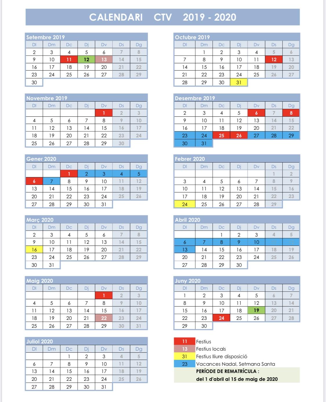 Calendario CTV 2020