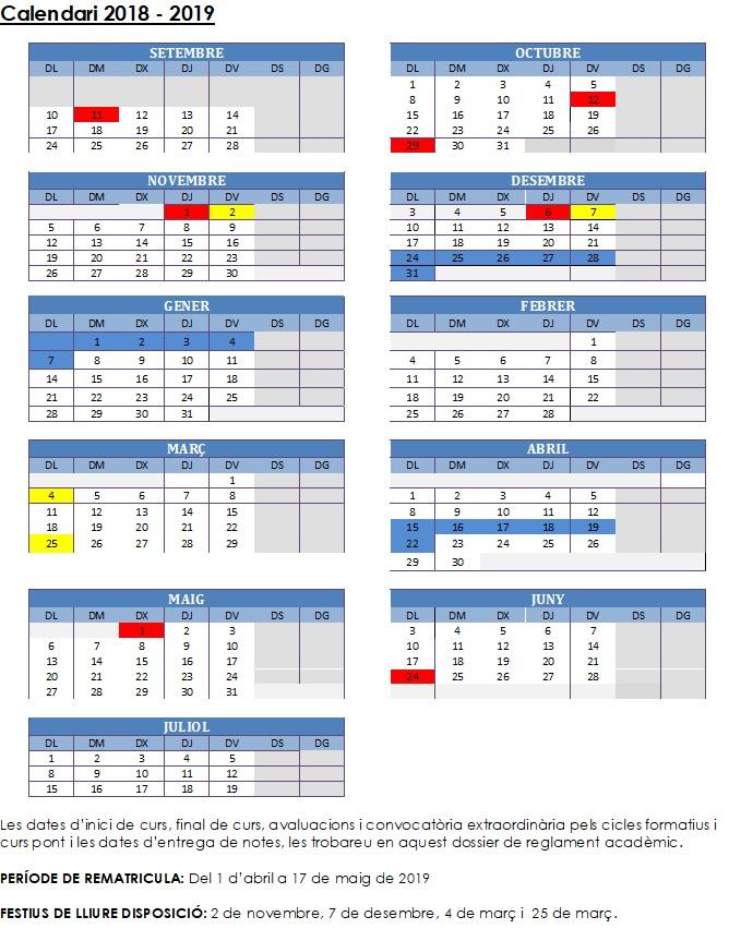 Calendario curso 2018/19 y reglamento académico y régimen interno