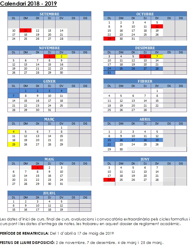 Calendari curs 2018/19 i reglament acadèmic i règim intern
