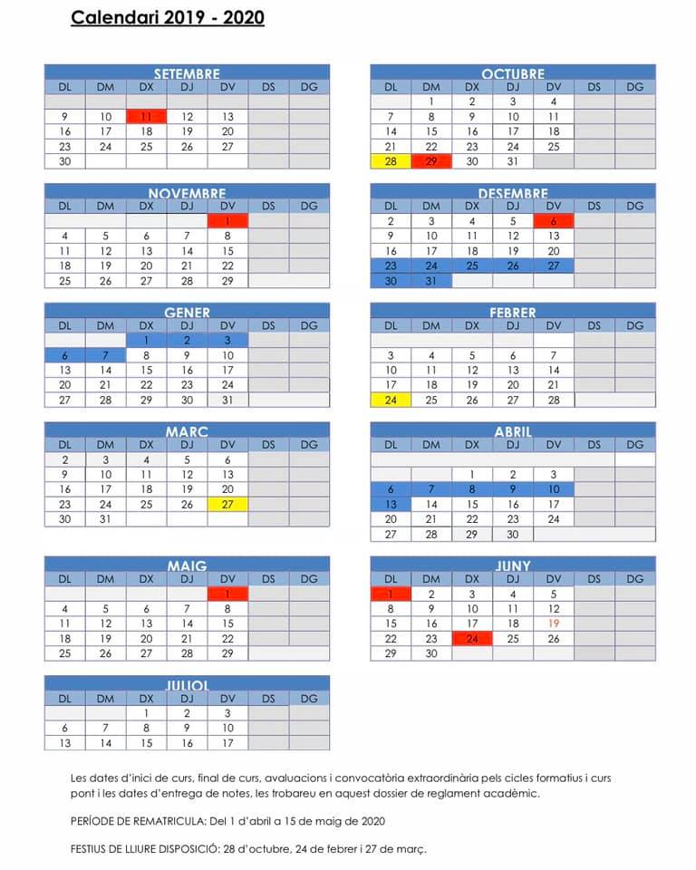 Atenció! Canvi de dies festius!