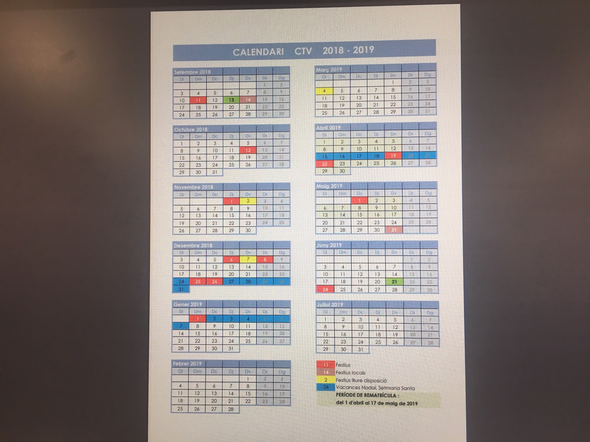 Calendari CTV curs 2018/19