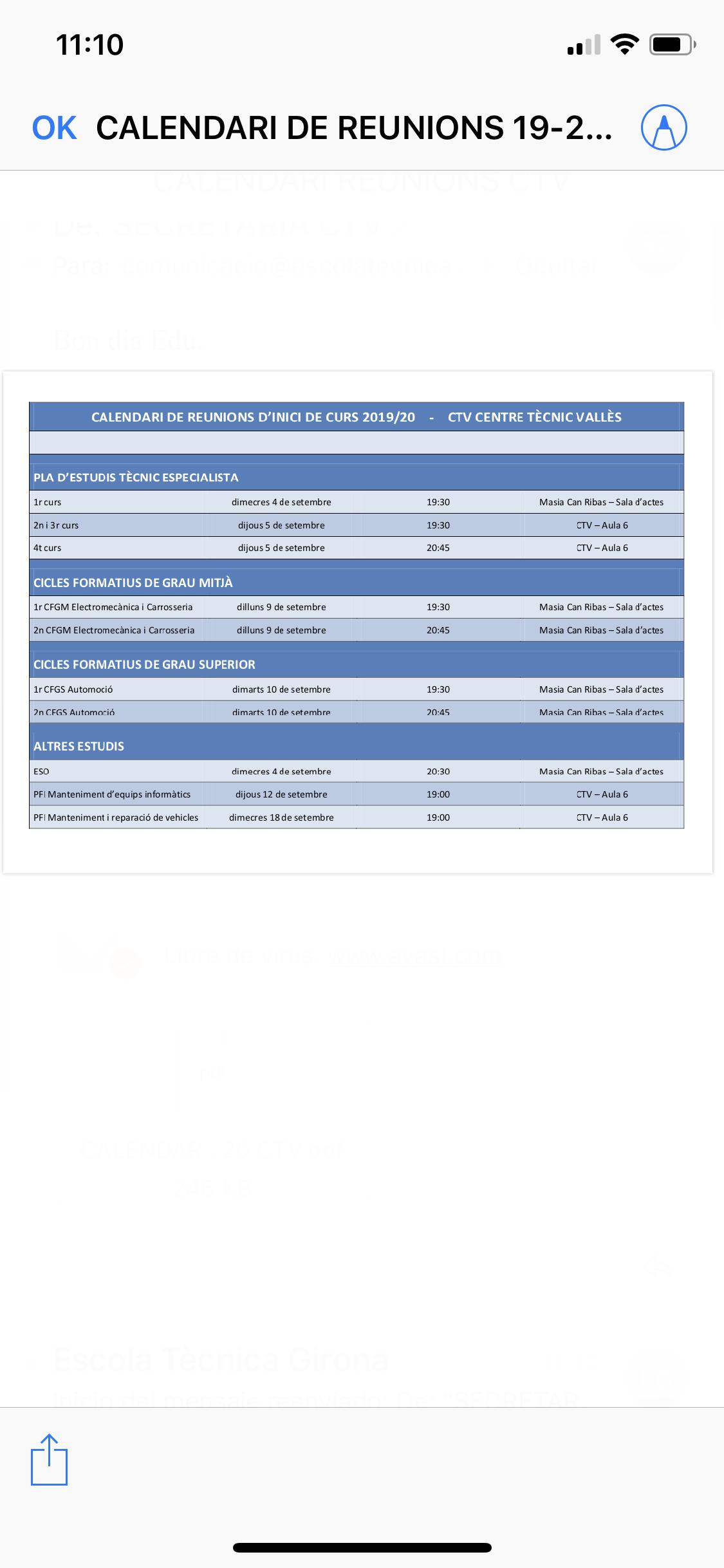 Calendari de reunions d'inici de curs CTV