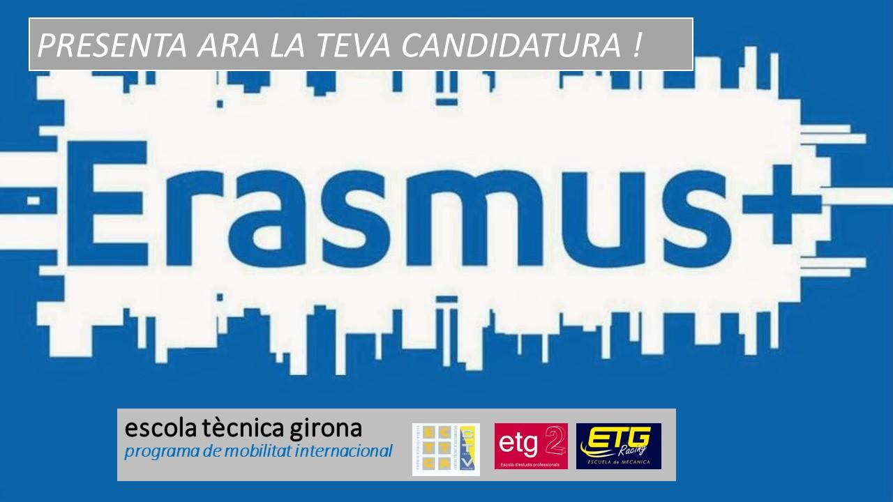 Obert el procés de candidatures per ERASMUS+ 2016