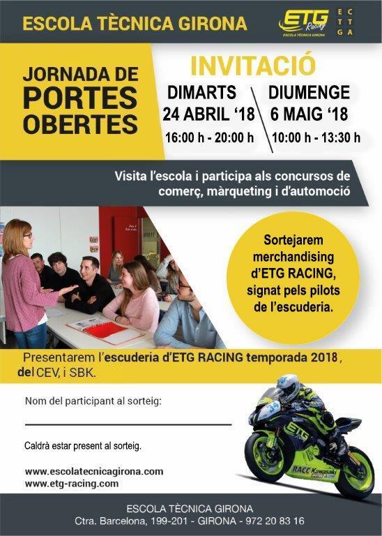 Les jornades de portes obertes a l'Escola Tècnica Girona (ETG, ETG2 i ETG Racing) tindran lloc el dimarts 24 d'abril (16h a 20h) i el diumenge 6 de m