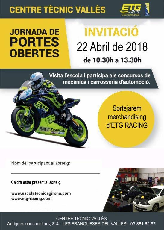 Les jornades de portes obertes al Centre Tècnic del Vallès (CTV) tindran lloc el diumenge 22 d'abril (10.30h a 14h)